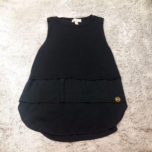 Michael Kors XS Black Sheer 3 Panel Top Gold Logo